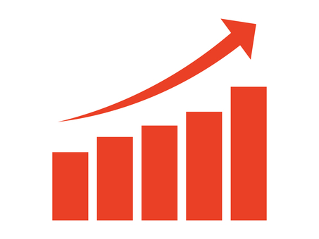 Simple rising graph icon: red