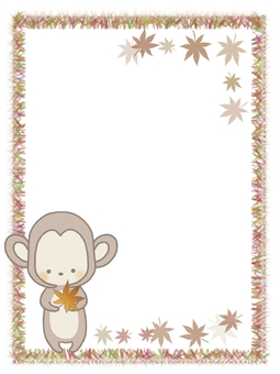There is a frame illustration line of a monkey with autumn leaves