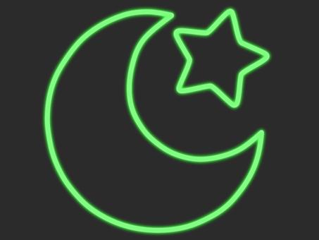 綠色霓虹新月和星星