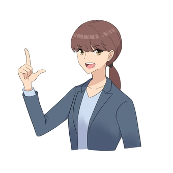 Illustration of a woman pointing her index finger