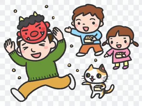 父母和孩子播種豆子
