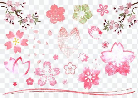 可以在春季櫻桃水彩中使用的日式材料