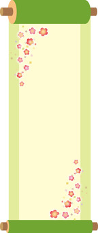 Flower and green hanging scroll