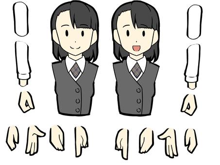 Receptionist female upper body set