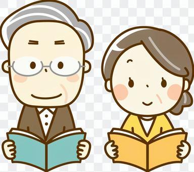 Elderly people reading books