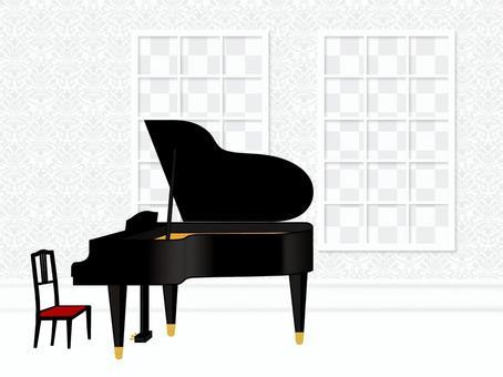 窗口鋼琴景觀錦緞模式海花場