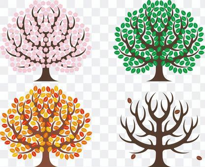 象徵性的樹木四個季節春夏秋冬