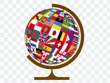 地球儀 国旗