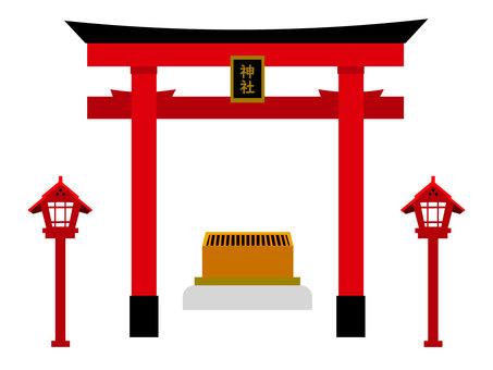 神社的鳥居門和錢箱的插圖