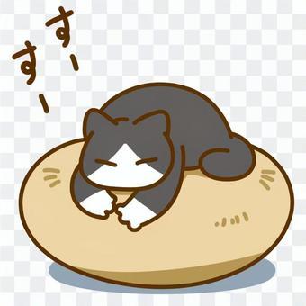 貓睡在墊子上2