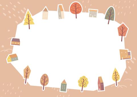 可愛的房子和秋葉的秋天背景 3