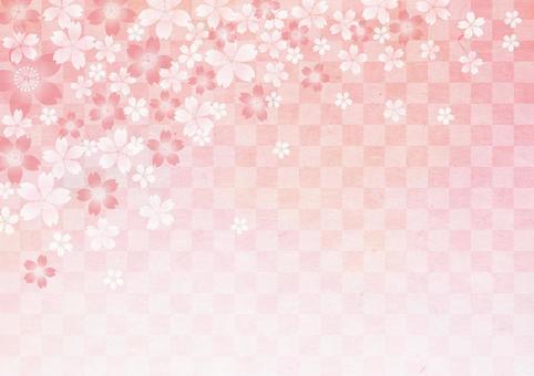 New Year _ Washi _ lattice_ cherry background