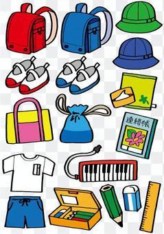 Assortment of elementary school students' belongings
