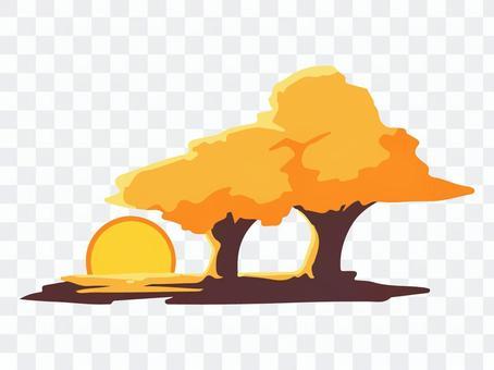 日落和樹木的插圖