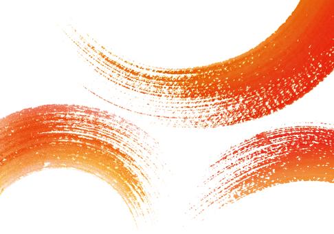 筆觸紅色/朱紅色手繪