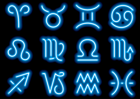 Neon sign style 12 constellation symbol set
