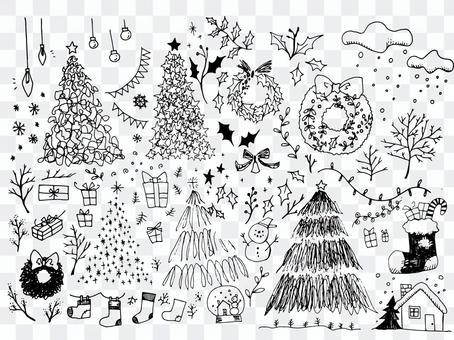 手書きのクリスマスイラストセット