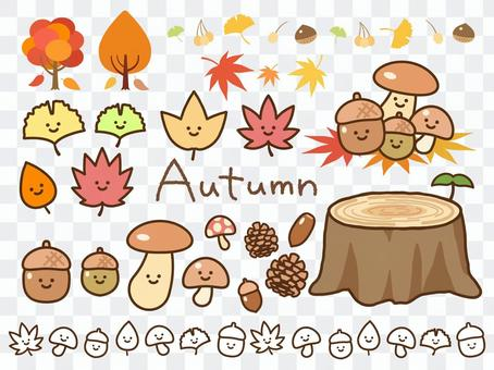 Autumn leaves _ nuts _ mushrooms (with face)