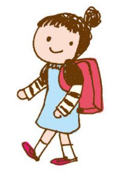 女孩背著書包