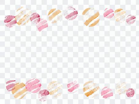 水彩・しま丸の水彩手描きフレーム(暖色)