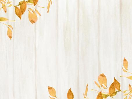 水彩手繪白板和秋天的樹葉框架