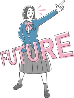Illustration of a female student pointing to the future