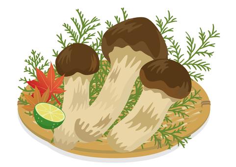 秋天在漏勺中品嚐松茸蘑菇