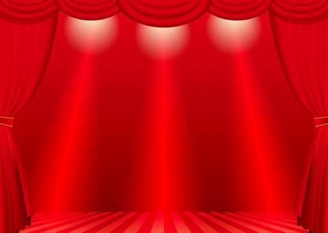 紅色的窗簾和舞台