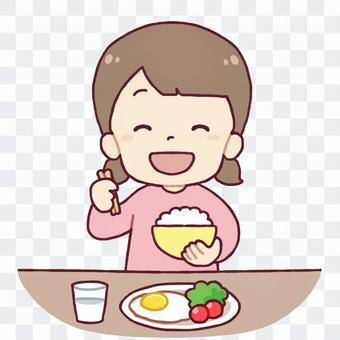 吃米飯的女孩