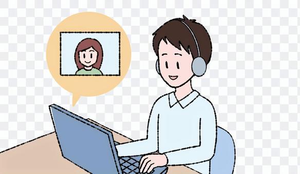 一個人在計算機上撥打遠程電話