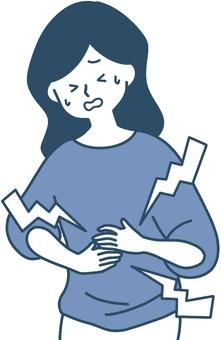 女人按住胃胃痛症狀