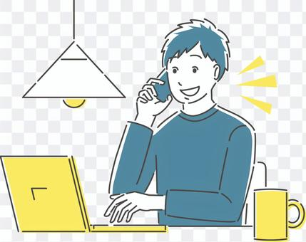 Illustration of a man during telework