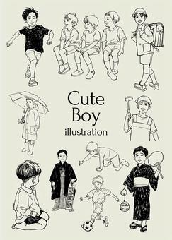 可愛的男孩插圖