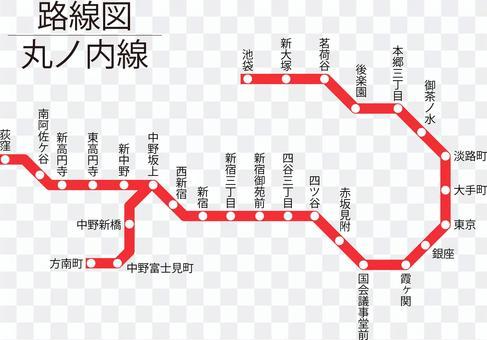 丸ノ内線路線図-単純化