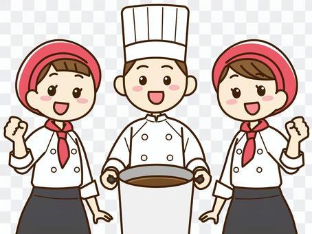 烹飪人員,三個人01