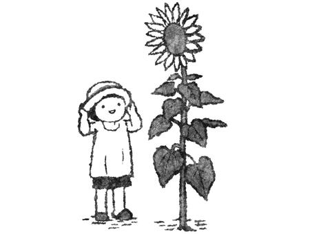 向日葵和孩子