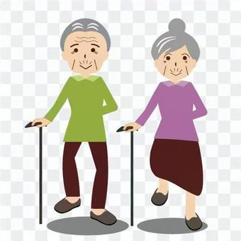 An elderly couple walking with a cane cheerfully