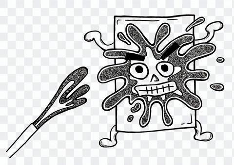 水に耐える材料の手描きキャラクター素材黒