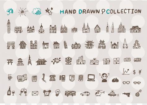 Hand drawn icon jumbled set