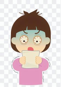 驚訝的女人,看著紙[發票]的插圖