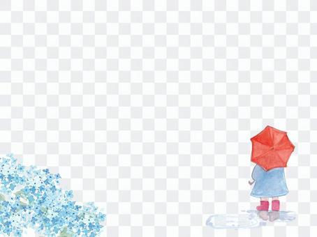 繡球花和女孩水彩