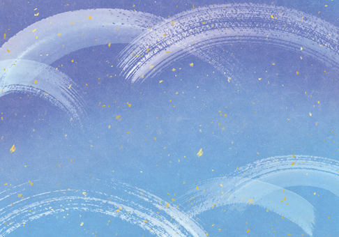 夏・冬・和イメージ水彩背景青自然