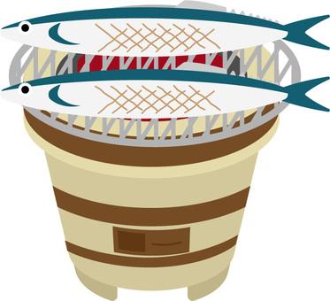 七輪和秋刀魚