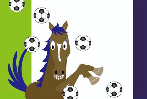 一匹馬和一個足球的插圖