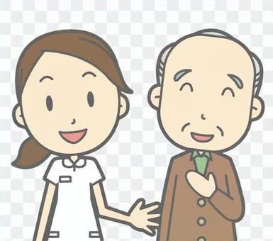 護士和老人說話的胸圍