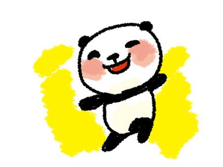 Crayon style panda jump