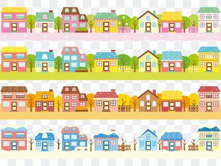 Spring, summer, fall, winter, house set
