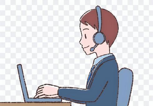 一個穿著西裝在計算機上工作的人