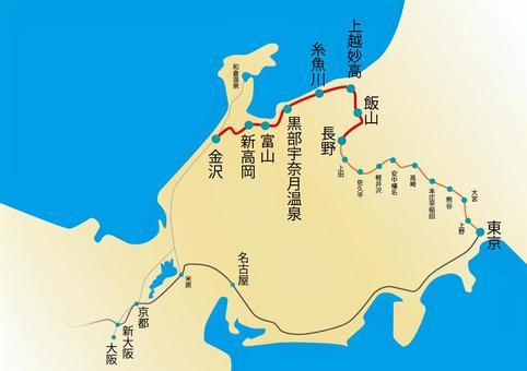 北陸新幹線路線圖