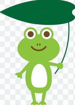 Frog green with a leaf umbrella